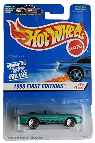Hot Wheels 1998 First Editions Green Jaguar XK8 Die Cast Car #5 of 48 Premier Collector's Model 1:64 Scale