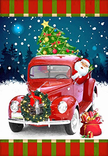 Lantern Hill Santa in Classic Vintage Red Truck with Christmas Tree Garden Flag; 12.5 inches x 18 inches; Winter Seasonal Holiday Decorative Banner -