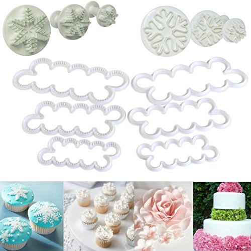ELINKA Carnation Rose Flower Shaped Snowflake Cutters Fondant Cake Decoration Baking Tools ()