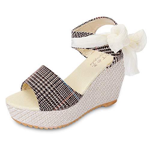 KCatsy Trendy Open Toe Ankle Strap Women Wedge Heel Sandals Light Khaki (Bongo Sandals Womens)