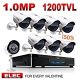 Cheap ELEC 8CH 960H HDMI DVR 1200TVL Security Cameras, 8 Channel Surveillance Security Camera System, Remote Access, Motion Detect, IR-CUT Night Vision, IP66 Weatherproof, NO Hard Drive