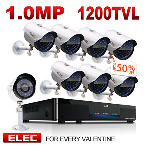 ELEC 8CH 960H HDMI DVR 1200TVL Security Cameras, 8 Channel Surveillance Security Camera System, Remote Access, Motion Detect, IR-CUT Night Vision, IP66 Weatherproof, NO Hard Drive