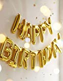 Design style: All Alphabet can hang use rope ,as the picture Color: Gold birthday balloons, very shiny Material: Aluminum Foil balloons Before blowing around 15.5 inch,After blowing around 13.5 inch.Due to hand measure, the size may have 1-4 cm error...