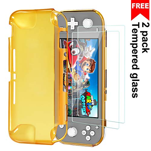 Protective TPU Cover Case for Nintendo Switch Lite 2019, Ultra Slim Cover with 2 Pack Tempered Glass Screen Protector, Shock-Absorption and Anti-Scratch Case Cover for Nintendo Switch Lite,Yellow