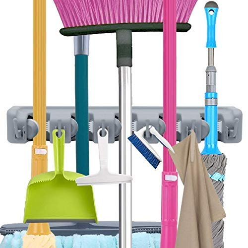 (OUZIFISH Mop and Broom Holder, Wall Mounted Garden Tool Organizer Storage Hooks,Ideal Tools Hanger for Kitchen, Garage, Laundry Room (5 Sections & 6 Hooks) (Grey))