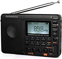 Retekess V115 Portable AM FM Radio with Shortwave Radio MP3 Player Digital Record Support Micro SD TF Card Sleep Timer...