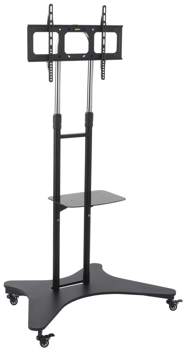 Displays2go Rolling TV Cart with Shelf, Steel and Aluminum Construction, Height Adjustable – Black (TVSVM31NS)