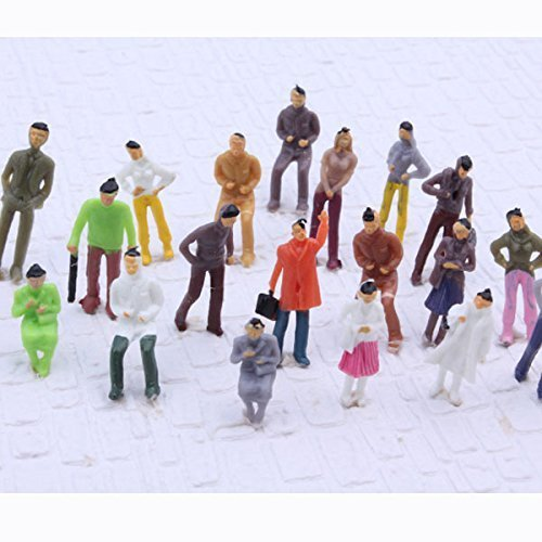 Pack of 100 OO Gauge 1:75 Scale Mixed Painted Model People Figure for Architecture Layout