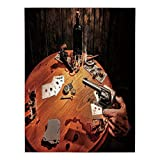 Polyester Rectangular Tablecloth,Western,Gambler Holding a Revolver Gun Poker Cards Table Drinks Cigars Dark Saloon Decorative,Orange Brown Black,Dining Room Kitchen Picnic Table Cloth Cover,for Outdo