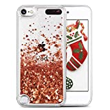 iPod Touch case 6th Generation, iPod Touch 6/5 Glitter Case for Girls,VEGO Bling Sparkle Liquid Moving Teen Case with Floating Shiny Quicksand Waterfall for Apple iPod Touch 6th 5th Generation(Gold)