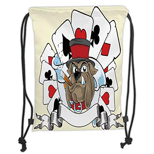 Bulldog Pink Ribbon - Custom Printed Drawstring Sack Backpacks Bags,Poker Tournament Decorations,Cartoon Style Bulldog with Playing Cards Ribbon Rich Winner Decorative,Multicolor Soft Satin,5 Liter Capacity,Adjustable Stri