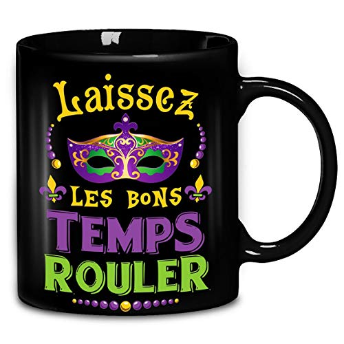 Laissez Les Bons Temps Rouler Mardi Gras Mug New Orleans Coffee Mug 11oz & 15oz Ceramic Tea Cups]()