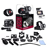 XtremePro 4K Ultra HD Sports Camera Bundle with Wireless Wrist Remote and 20 Accessories Included, Black