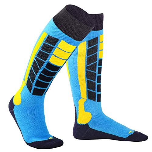 Soared Winter Ski Socks Snowboard Snow Warm Knee Over The Calf OTC High Performance 2 Pairs Blue for US 5-6.5