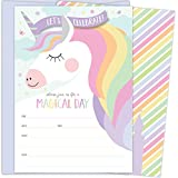 Koko Paper Co Magical Unicorn Invitations with Butterflies and Castle. 25 Lavender Envelopes and Fill in the Blank Style Invites for Birthdays, Baby Showers and Other Events.