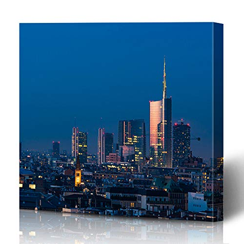 Ahawoso Canvas Prints Wall Art 16x16 Inches Milano Milan Cityscape Sunset New Skyscrapers Downtown Porta Italian City Modern Night Design Decor for Living Room Office Bedroom