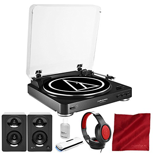 Audio-Technica AT-LP60 Fully Automatic Belt-Drive Turntable with Samson MediaOne M30 Powered Studio Monitor, Closed-Back Headphones, and Deluxe Accessory Bundle