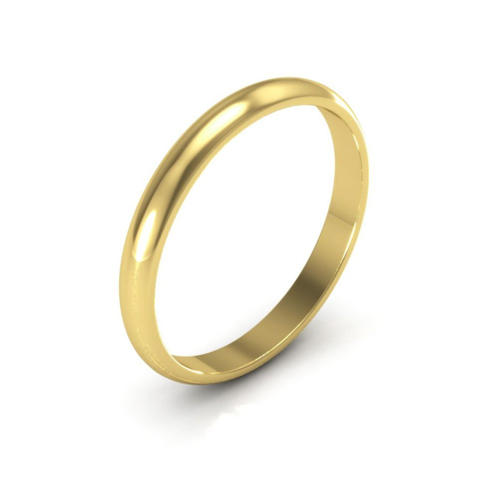 10K Yellow Gold mens and womens plain wedding bands 2.5mm non comfort-fit