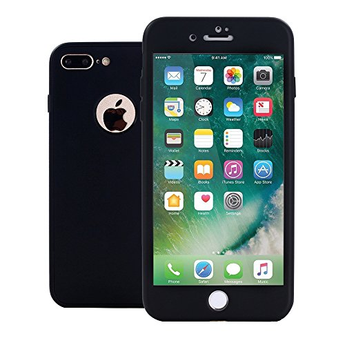- iPhone 7 Plus Case,iPhone 8 Plus Case,Alkax Front and Back Full body Slim Thin Silicone Shockproof Soft TPU Rubber Protective Case Skin Design Phone Case Bumper for Apple iPhone 8 7 Plus (Black)