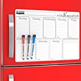 Weekly Calendar Whiteboard Magnet for Refrigerator - Magnetic Weekly Planner Board Magnet - Kitchen To Do List Board - Dry Erase Schedule Board Magnetic Fridge Notepad - Grocery List Magnet Pad