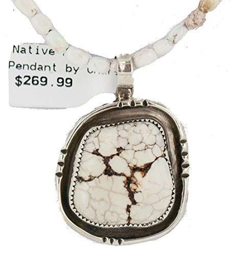 $470 Retail Tag Silver Authentic Made by Robert Little Navajo Natural White Buffalo Turquoise Native American Necklace