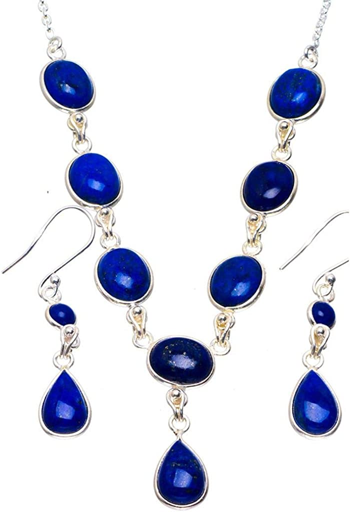 Natural Lapis Lazuli 925 Sterling Silver Jewelry Set Necklace 18 Earrings 1.25 A3367