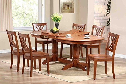 "Iconic Furniture OV90-T-CN-CN DBS-OV90-CN CH56-CN-CN Oval Dinning Table and Double x Back Chair, 90"", Cinnamon"