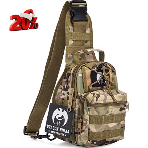 Dragon Ninja Tactical Sling Bag for Men and Women Premium Backpack Military Sport Daypacks for Carrying EDC Camping Hiking and Travel 1000D Water - Sling Dragon