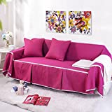 RUGAI-UE Sofa Slipcover Single double fabric living room sofa cover all sofa cloth round full color,Three seater 215x300cm,FM rose red