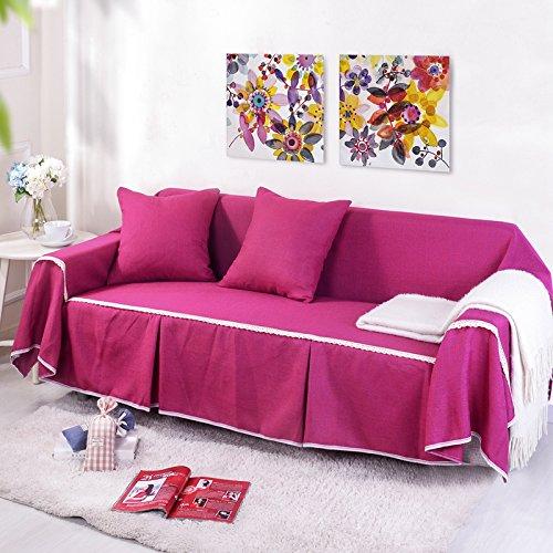 RUGAI-UE Sofa Slipcover Single double fabric living room sofa cover all sofa cloth round full color,Three seater 215x300cm,FM rose red