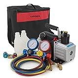 ARKSEN 5CFM 1/2HP Vacuum Pump + 4 Way Valve Manifold Gauge Carrying Bag HVAC Quick Adapter R410 R22 R134 R407C