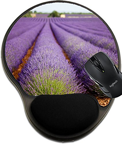 Price comparison product image MSD Mousepad wrist protected Mouse Pads/Mat with wrist support design 26919274 Large lavender field in Provence France in full purple bloom july Shallow depth of field background blurry