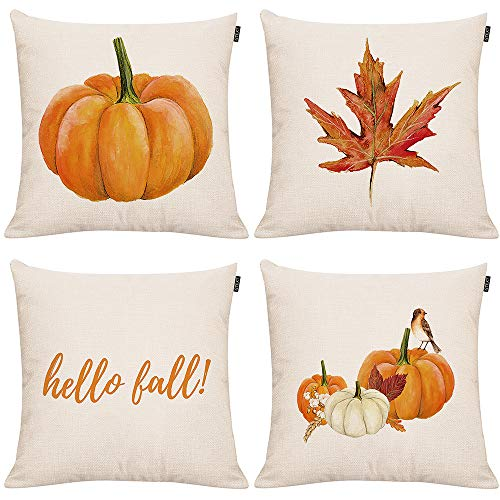 Set of 4 Fall Pumpkin Throw Pillow Covers Autumn Decor Pumpkin Pillows Cuhion Covers Cases for Couch Sofa Home Decoration Fall Pillows Linen 18 X 18 Inches