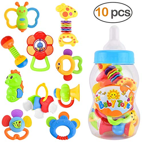 (GotechoD Baby Rattles Teether Rattle Set, Shaker Grab Rattle Baby Infant Newborn Toys Early Educational Toys for 3, 6, 9, 12 Month Boys Girls Baby Gifts)