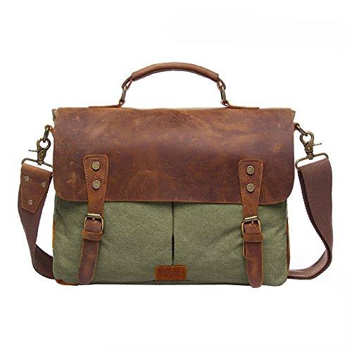 Messenge Bag, P.KU.VDSL Men's Vintage Genuine Leather Lap...