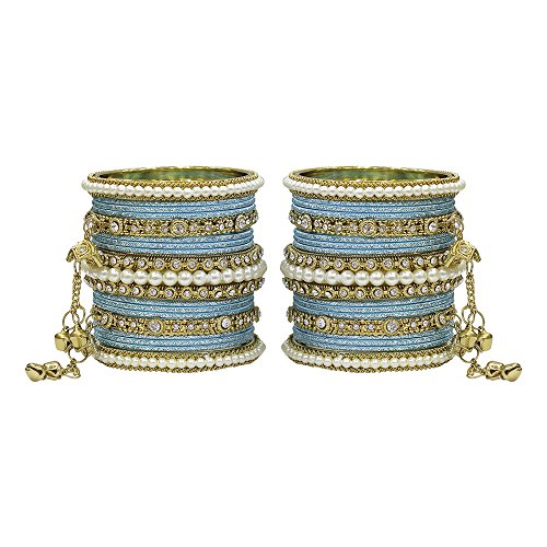 MUCH-MORE Exclusive Ethnic Collection Made Fashion Latkan Bangles for Women & Girls (Sky-Blue, 2.8) ()