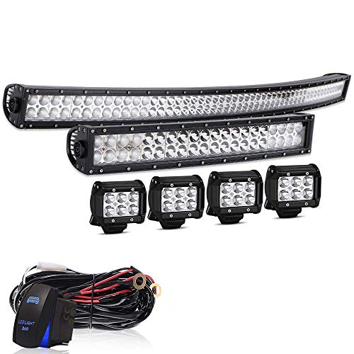 AUSI DOT 52Inch 300W Curved Led Light Bar + 20Inch Curved Led Light Bar + 4PC 4