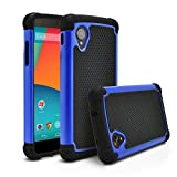 Nexus 5 Case, MagicMobile [Dual Armor Series] Hybrid Impact Resistant Nexus 5 Shockproof Tough Case (Rugged Hard Plastic) + (Rubber Silicone) Skin Protective Case for LG Nexus 5 - Black / Blue