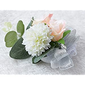 Zippersell Wedding Bride Wrist Corsage Bridesmaid Wrist Flower Corsage for Wedding Prom Party Homecoming (Pack of 2) 4