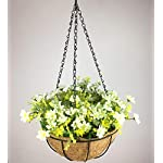 Lopkey-Artificial-Daisy-Flowers-Outdoor-Indoor-Patio-Lawn-Garden-Hanging-Basket-with-Chain-Flowerpot10-inch-White