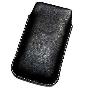 Funda de protección de piel sintética para Samsung Galaxy, XL I8250 negro