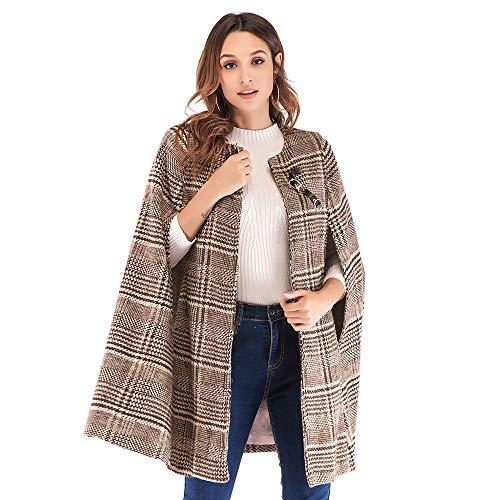 Orangeskycn Women's Fashion Trench Coat Cloak Plaid Baggy Woolen Cape S-XL (Silk Cream Blazer)