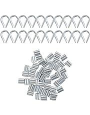 20 Stks Wire Rope Thimble Set & 50 Stks Aluminium Krimplus Mouw Clips met Dubbele Hulzen Rvs Draad Touw Klem Kabelklem Krimpt Roestvrije Oogje Metalen Kabel Lugs voor 2mm Draad