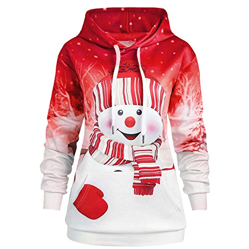 HOSOME Women Christmas Hoodie Cartoon Snowman Print Sweatshirt Pullover Pocket Tops Red