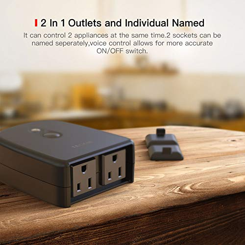 Outdoor Smart Plug, TECKIN Outdoor Wi-Fi Outlet with 2 Sockets, Compatible with Alexa, Google Home, Wireless Remote Control/Timer by Smartphone, IP44 Waterproof, FCC/RoHS certified