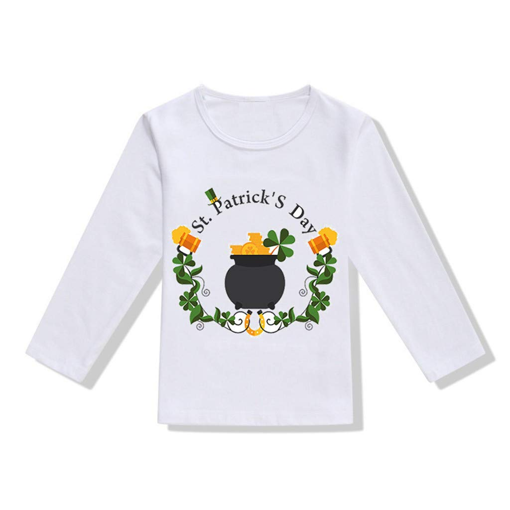 DealinM ST. Patricks Day Shirt Youth Kids, Toddler Baby Girls Boys St.Patrick's Day T Shirt Irish National Day Tops Blouse White