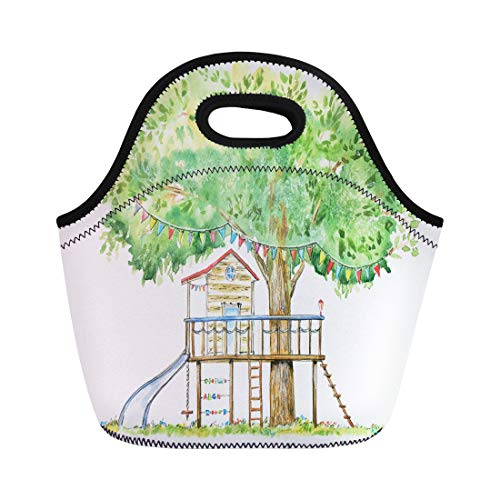 Semtomn Neoprene Lunch Tote Bag Baby Tree House Swing Slide and Playhouse Summer Watercolor Reusable Cooler Bags Insulated Thermal Picnic Handbag for Travel,School,Outdoors,Work