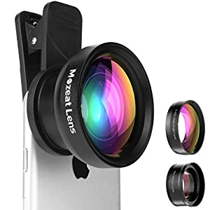 Mozeat Lens 2 in 1 Cellphone Camera Lens Kit 0.45X Wide Angle and 15X Macro Lens Upgrade Version for iPhone, Samsung, Android Smartphones