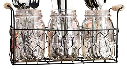 Set of 3 Clear Glass Mason Jars in Wire Tray with Wooden Handles, Flatware Caddy Organizer Set for Home & Parties (Wire Caddy Flatware)
