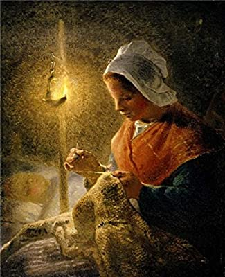 Oil Painting 'Jean-Francois Millet - Woman Sewing By Lamplight, 1870-72' Printing On Perfect Effect Canvas , 8x10 Inch / 20x25 Cm ,the Best Wall Art Gallery Art And Home Gallery Art And Gifts Is This Beautiful Art Decorative Canvas Prints